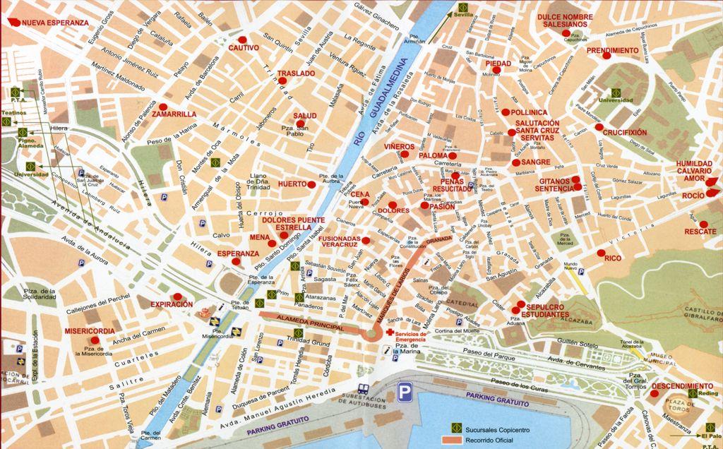 Callejero Mapa De Malaga Capital.Plano Malaga Mapa