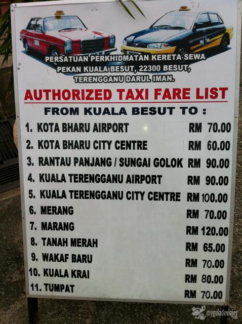 Precios de los taxis desde kaula Besut
