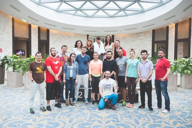 Con algunos bloggers y Simona Halep, la 3 del tenis mundial.