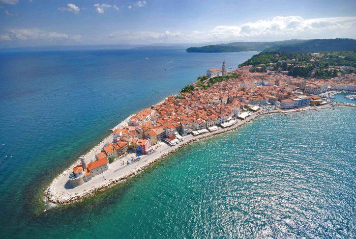 vista aérea de Piran.