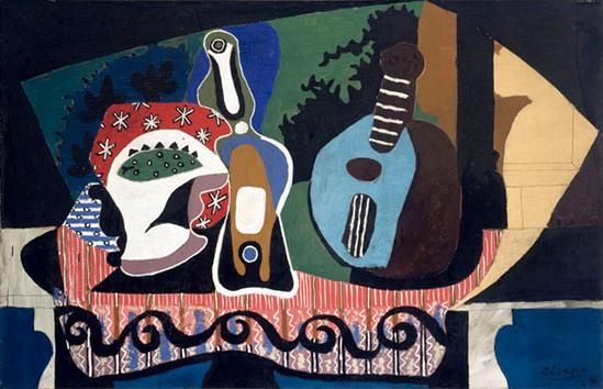 Naturaleza muerta con mandolina, Picasso. Imagen propiedad de National Gallery of Ireland.