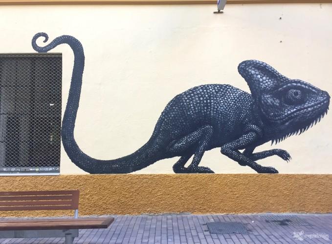 Camaleón en calle Casas de Campos