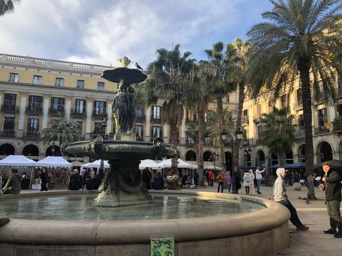 Plaza Real en el Barrio Gótico.